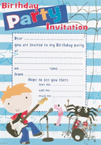 Birthday Boy Invitations And Envelopes (20 Pack)