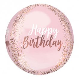Blush Happy Birthday Orbz Helium Filled Foil Balloon