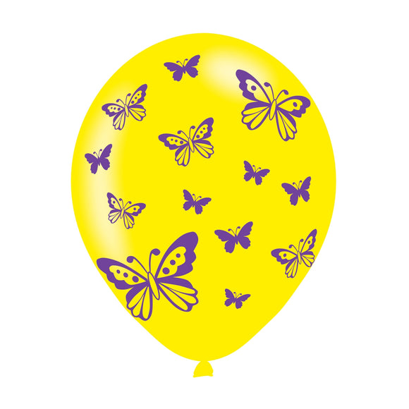 Butterfly Latex Balloons In Assorted Colours (6 Pack)
