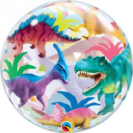 Colourful Dinosaurs Helium Filled Single Bubble Balloon