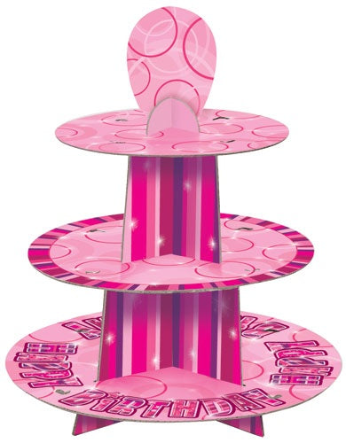 Pink Glitz Happy Birthday 3 Tier Cupcake Stand
