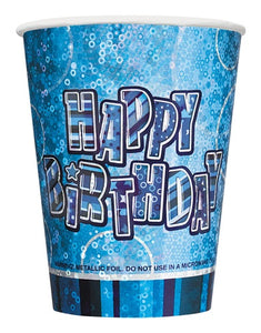 Blue Glitz Paper Party Cups x8