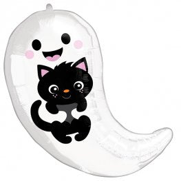 Ghost & Black Cat Helium Filled Foil Balloon