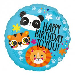 Tiger, Panda And Lion Happy Birthday Helium Filled Foil Balloon