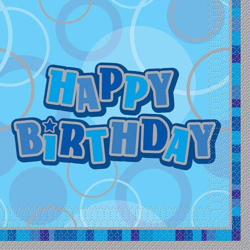 Blue Glitz Happy Birthday Party Napkins x16