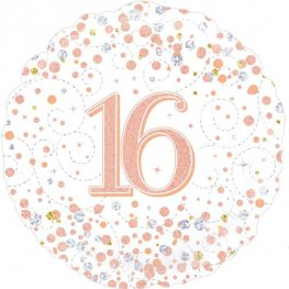 16th Sparkling Fizz White And Rose Gold Helium Filled Foil Balloon