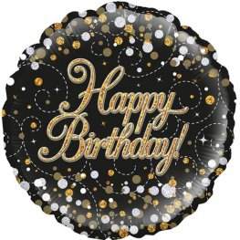 Happy Birthday Sparkling Fizz Black And Gold Helium Filled Foil Balloon