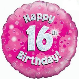 Happy 16th Birthday Pink Helium Filled Foil Balloon