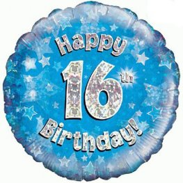 Happy 16th Birthday Blue Helium Filled Foil Balloon
