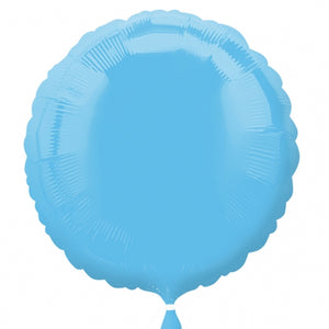 Pale Blue Circle Shape Helium Filled Foil Balloon