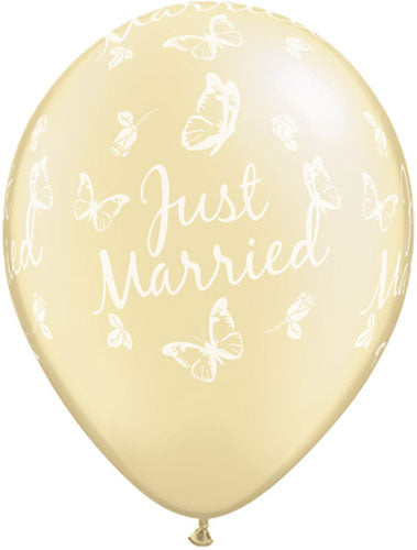 Just Married Pearl Ivory Butterflies Latex Balloon (Sold loose)