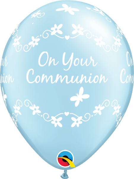 Pearl Light Blue On Your Communion Latex Balloons (6 Pack)