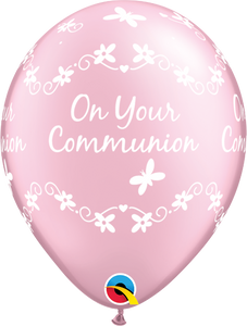 Pearl Pink On Your Communion Latex Balloons (6 Pack)