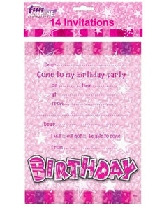 Pink Birthday Party Invitations And Envelopes (14 Pack)