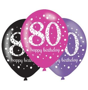80th Birthday Pink/Purple/Black Latex Balloons (6 Pack)