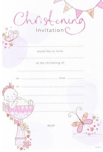 Pink Christening Invitations And Envelopes (20 Pack)