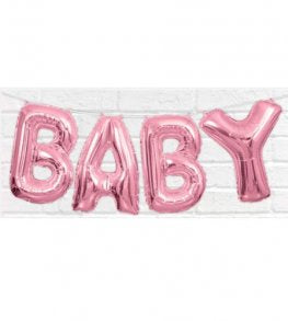 Pink Baby Letter Air Fill Balloon Banner Kit