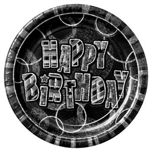 Black Glitz Happy Birthday Paper Party Plates x8