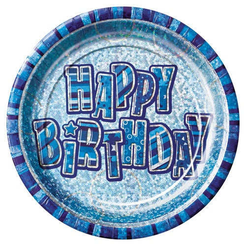Blue Glitz Happy Birthday Paper Party Plates x8