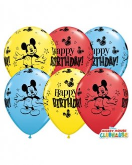 Mickey Mouse Happy Birthday Latex Balloons x10 (Sold loose)