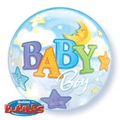 Baby Boy Stars And Moon Helium Filled Single Bubble Balloon