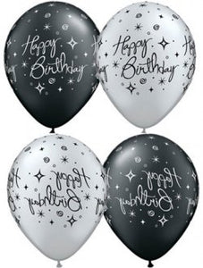 Happy Birthday Black And Silver Elegant Sparkles And Swirls Latex Balloons x10 (Sold loose)