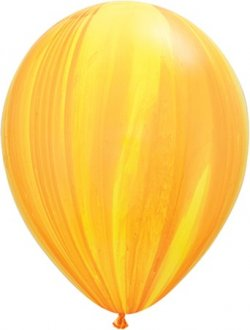 Orange And Yellow Rainbow Super Agate Latex Balloon (Sold loose)