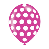 White Polka Dot Latex Balloons In Assorted Colours (6 Pack)