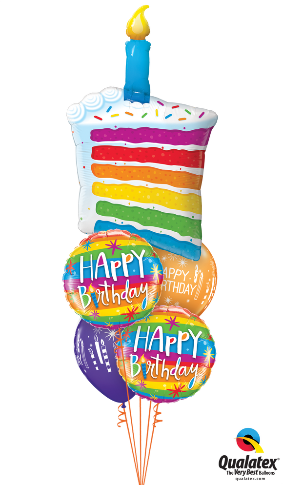 Rainbow Birthday Cake Balloon Cluster