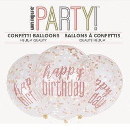 Happy Birthday Clear Latex Balloons With Rose Gold, White And Gold Confetti (6 Pack)