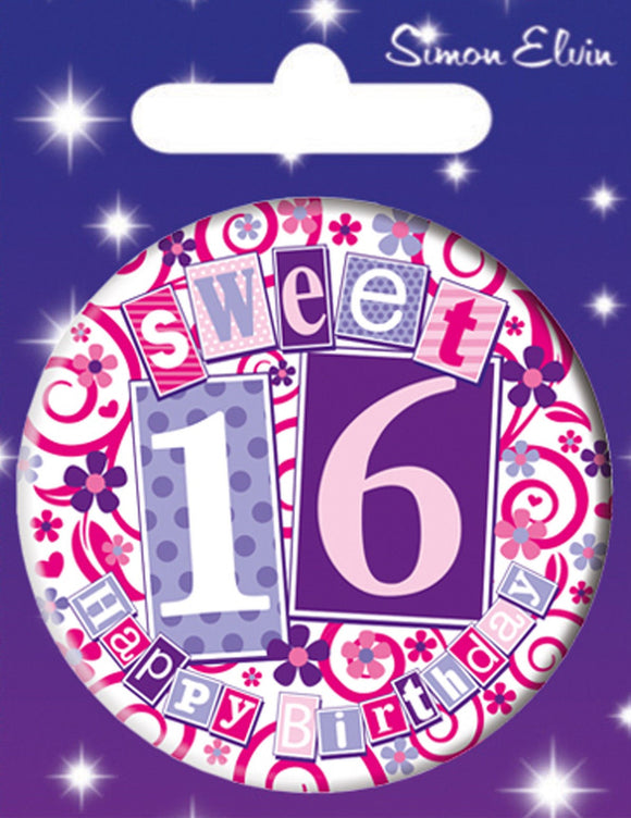 Sweet 16 Happy Birthday Jumbo Badge