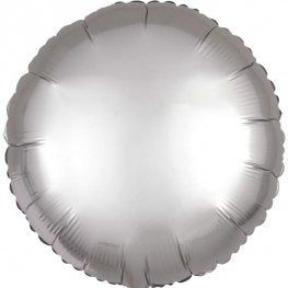Satin Luxe Platinum Circle Shape Helium Filled Foil Balloon