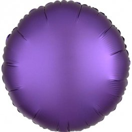 Sateen Luxe Purple Royale Circle Shape Helium Filled Foil Balloon
