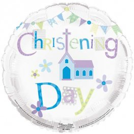 Christening Day Blue Helium Filled Foil Balloon