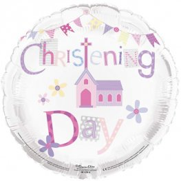 Christening Day Pink Helium Filled Foil Balloon
