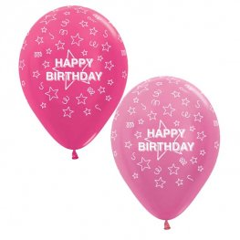 Happy Birthday Pink Stars Mix Latex Balloons x10 (Sold loose)
