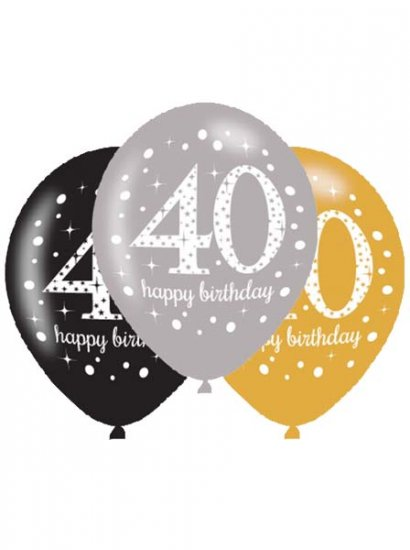 40th Birthday Silver/Gold/Black Latex Balloons (6 Pack)