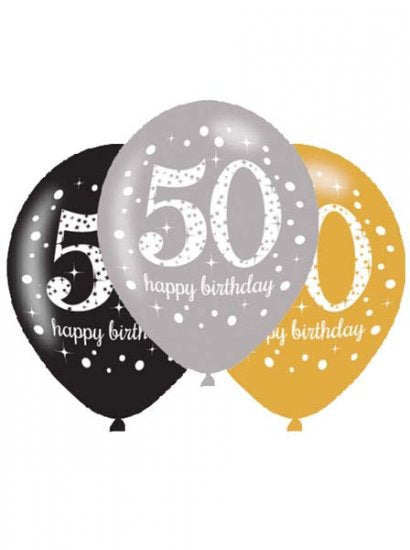 50th Birthday Silver/Gold/Black Latex Balloons (6 Pack)
