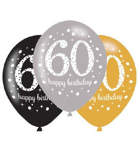 60th Birthday Silver/Gold/Black Latex Balloons (6 Pack)