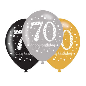 70th Birthday Silver/Gold/Black Latex Balloons (6 Pack)
