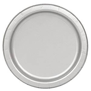 Silver Paper Party Plates x16