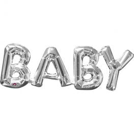 Silver Baby Letter Air Fill Balloon Banner Kit