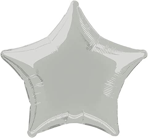 Silver Star Shape Helium Filled Foil Balloon
