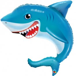 Smiling Shark Supershape Foil Balloon (Uninflated)