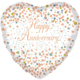Happy Anniversary Sparkling Fizz And Rose Gold Helium Filled Foil Balloon