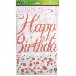 Rose Gold Sparkling Fizz Happy Birthday Plastic Tablecover