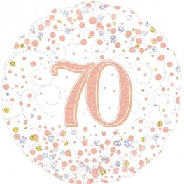70th Sparkling Fizz And Rose Gold Helium Filled Foil Balloon