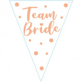 Team Bride White And Rose Gold Party Bunting
