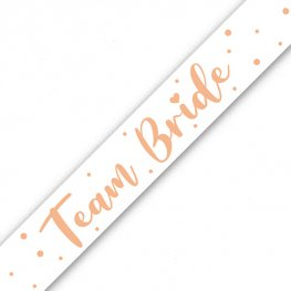 Team Bride White And Rose Gold Banner
