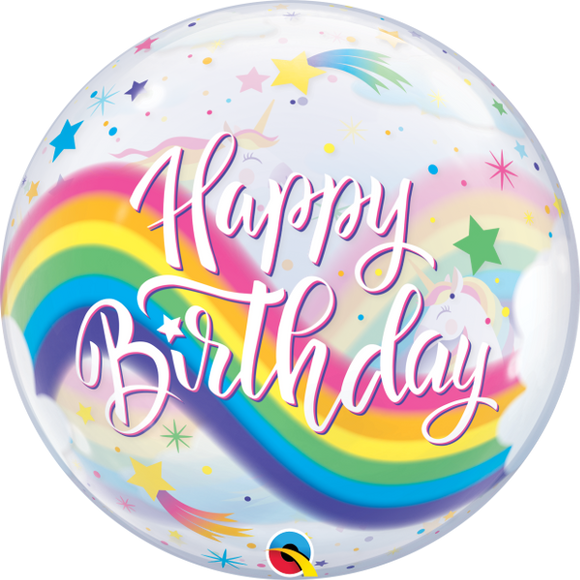 Happy Birthday Unicorn 2-Sided Helium Filled Single Bubble Balloon